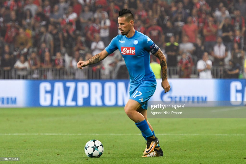 Marek Hamsik of Naples during the UEFA Champions League Qualifying Play-Offs round, second leg match, between OGC Nice and SSC Napoli at Allianz Riviera Stadium on August 22, 2017 in Nice, France.
