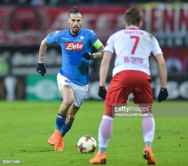 Marek Hamsik of Napoli and Marcel Sabitzer of RB Leipzig during UEFA Europa League Round of 32 match between RB Leipzig and Napoli at the Red Bull...