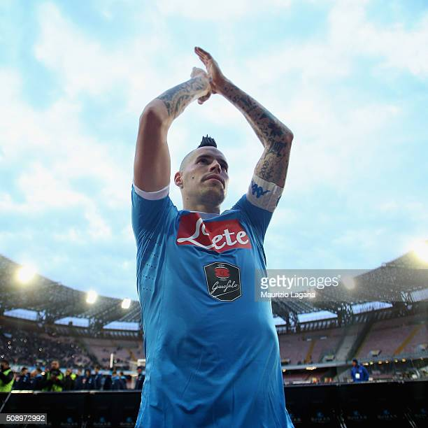 Marek Hamsik of Napoli celebrate after the Serie A match between SSC Napoli and Carpi FC at Stadio San Paolo on February 7 2016 in Naples Italy