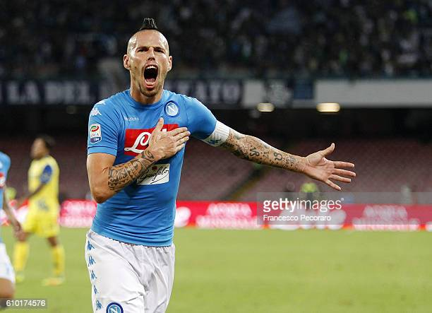Marek Hamsik of Napoli celebrates after scoring goal 20 during the Serie A match between SSC Napoli and AC ChievoVerona at Stadio San Paolo on...