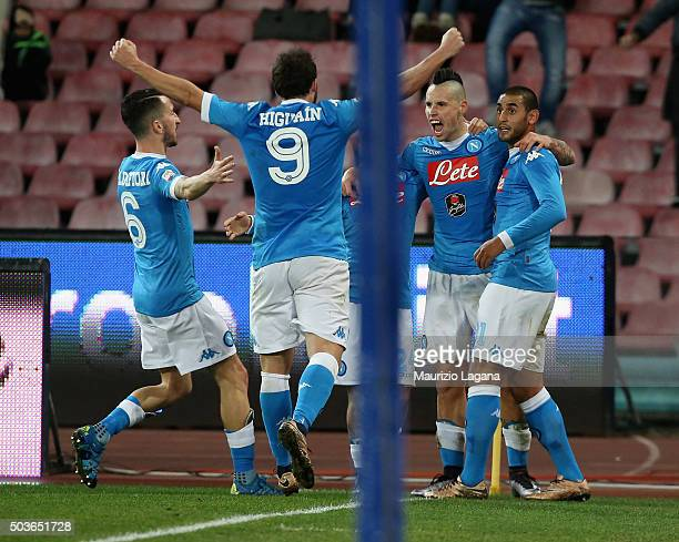 Marek Hamsik of Napoli celebrates after scoring his team's second goal during the Serie A match between SSC Napoli and Torino FC at Stadio San Paolo...