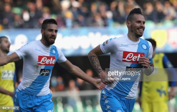 Marek Hamsik of Napoli celebrates after scoring his team's second goal during the Serie A match between AC ChievoVerona and SSC Napoli at Stadio...
