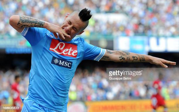 Marek Hamsik of Napoli celebrates after scoring the goal 21 during the Serie A match between SSC Napoli and AC Siena at Stadio San Paolo on May 12...