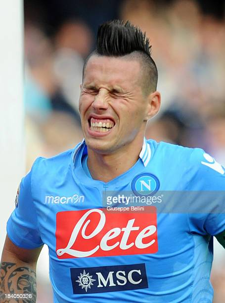 Marek Hamsik of Napoli celebrates after scoring the goal 40 during the Serie A match between SSC Napoli and AS Livorno Calcio at Stadio San Paolo on...