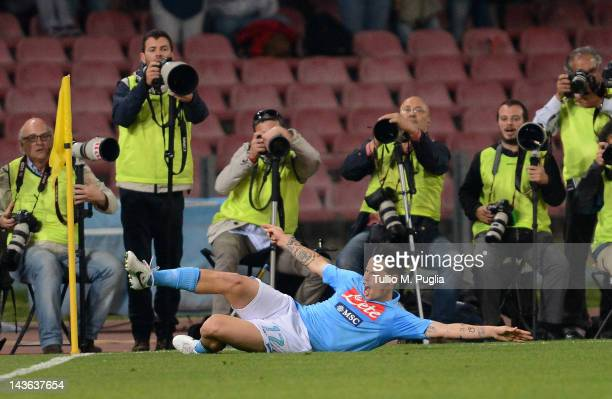 Marek Hamsik of Napoli celebrates after scoring their second goal during the Serie A match between SSC Napoli and US Citta di Palermo at Stadio San...