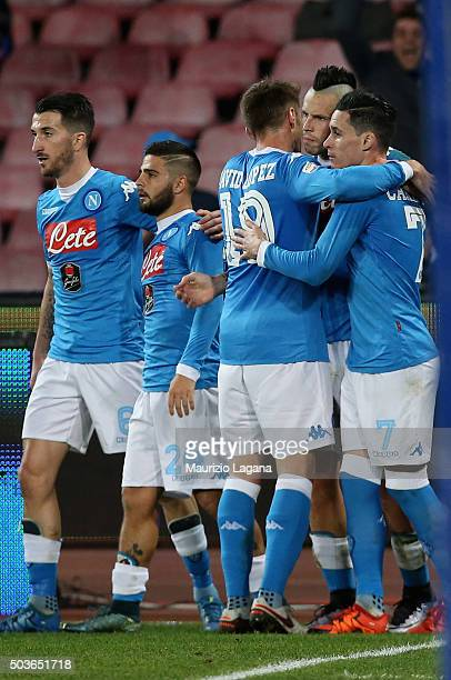 Marek Hamsik of Napoli celebrates his team's second goal during the Serie A match between SSC Napoli and Torino FC at Stadio San Paolo on January 6...