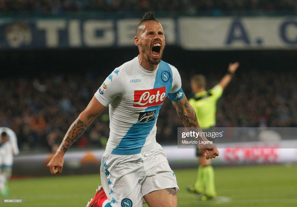Marek Hamsik of Napoli celebrates the equalizing goal during the Serie A match between SSC Napoli and Juventus FC at Stadio San Paolo on April 2, 2017 in Naples, Italy.