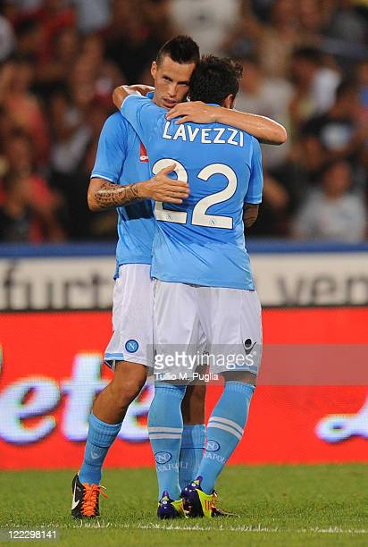 Marek Hamsik of Napoli celebrates with mate Ezequiel Lavezzi after scoring the opening goal during the pre season friendly match between SSC Napoli...