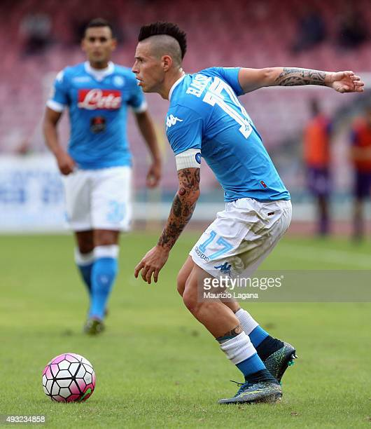 Marek Hamsik of Napoli during the Serie A match between SSC Napoli and ACF Fiorentina at Stadio San Paolo on October 18 2015 in Naples Italy