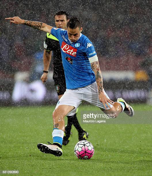 Marek Hamsik of Napoli during the Serie A match between SSC Napoli and Frosinone Calcio at Stadio San Paolo on May 14 2016 in Naples Italy