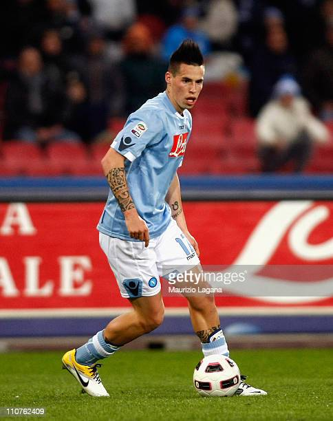 Marek Hamsik of Napoli in action during the Serie A match between SSC Napoli and Cagliari Calcio at Stadio San Paolo on March 20 2011 in Naples Italy