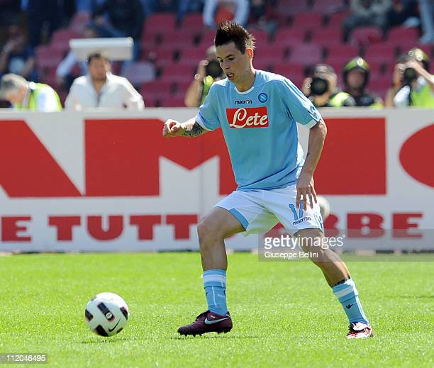 Marek Hamsik of Napoli in action during the Serie A match between SSC Napoli and SS Lazio at Stadio San Paolo on April 3 2011 in Naples Italy