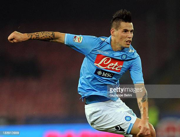 Marek Hamsik of Napoli in action during the Serie A match between SSC Napoli and SS Lazio at Stadio San Paolo on November 19 2011 in Naples Italy