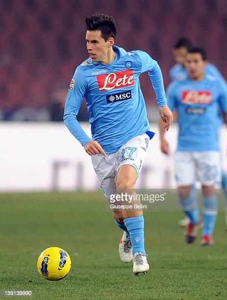 Marek Hamsik of Napoli in action during the Serie A match between SSC Napoli and AC Chievo Verona at Stadio San Paolo on February 13 2012 in Naples...