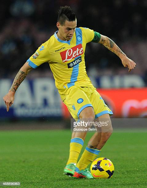 Marek Hamsik of Napoli in action during the Serie A match between SSC Napoli and AC Milan at Stadio San Paolo on February 8 2014 in Naples Italy