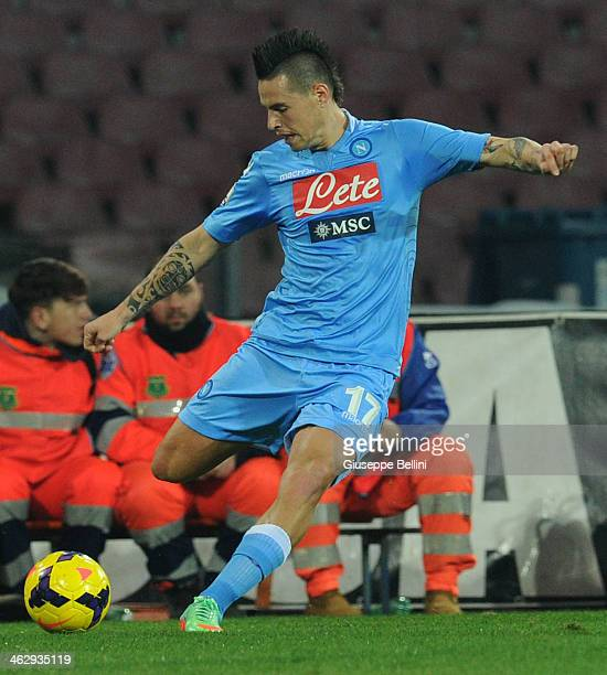 Marek Hamsik of Napoli in action during the Tim cup match between SSC Napoli and Atalanta BC at Stadio San Paolo on January 15 2014 in Naples Italy