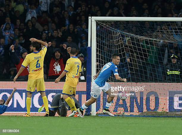 Marek Hamsik of Napoli scores the opening goal during the Serie A match between SSC Napoli and Frosinone Calcio at Stadio San Paolo on May 14 2016 in...