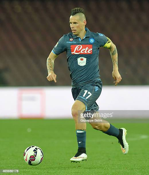 Marek Hamsik of Napolil in action during the Serie A match between SSC Napoli and FC Internazionale Milano at Stadio San Paolo on March 8 2015 in...