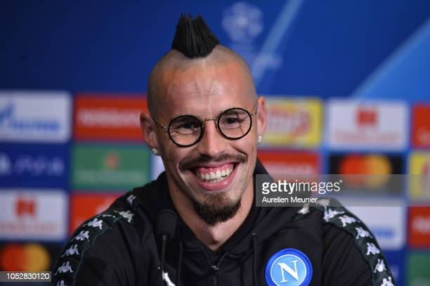 Marek Hamsik of SCC Napoli gives a press conference prior to the Group C match of the UEFA Champions League between Paris SaintGermain and SCC Napoli...