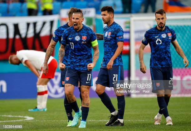 Marek Hamsik of Slovakia celebrates after victory in the UEFA Euro 2020 Championship Group E match between Poland and Slovakia at the Saint...