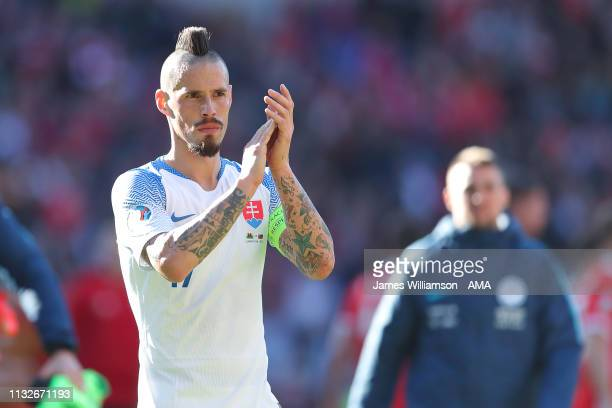 Marek Hamsik of Slovakia during the 2020 UEFA European Championships group E qualifying match between Wales and Slovakia at Cardiff City Stadium on...