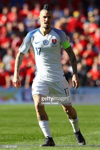 Marek Hamsik of Slovakia during the 2020 UEFA European Championships qualifying group E match between Wales and Slovakia at Cardiff City Stadium on...