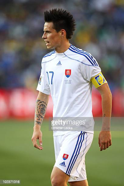 Marek Hamsik of Slovakia in action during the 2010 FIFA World Cup South Africa Group F match between Slovakia and Italy at Ellis Park Stadium on June...