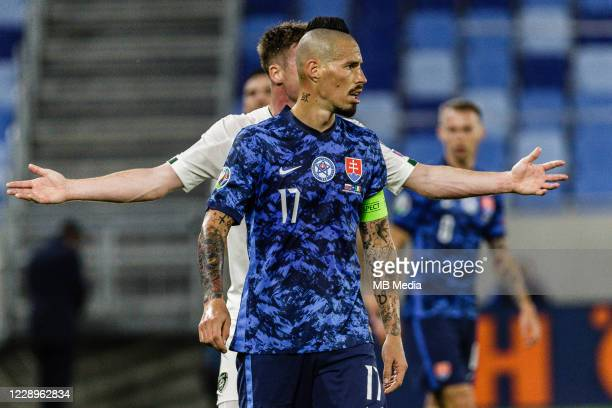Marek Hamsik of Slovakia in action during the UEFA EURO 2020 Play-Off Semi-Final match between Slovakia and Republic of Ireland at Narodny futbalovy...