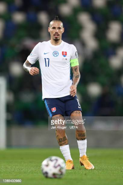 Marek Hamsik of Slovakia in action during the UEFA EURO 2020 Play-Off Final between Northern Ireland and Slovakia at Windsor Park on November 12,...