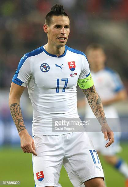 Marek Hamsik of Slovakia looks on during the international friendly match between Slovakia and Latvia held at Stadion Antona Malatinskeho on March 25...
