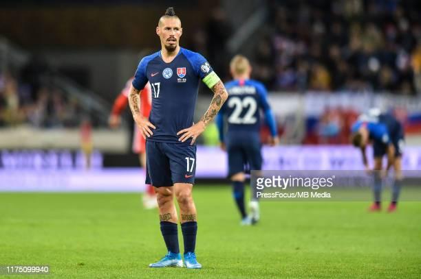 Marek Hamsik of Slovakia looks on during the UEFA Euro 2020 qualifier between Slovakia and Wales on October 10, 2019 in Trnava, Slovakia.