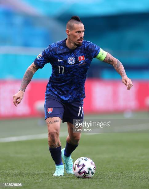 Marek Hamsik of Slovakia on the ball during the UEFA Euro 2020 Championship Group E match between Poland and Slovakia at the Saint Petersburg Stadium...
