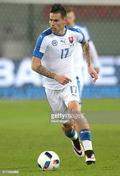 Marek Hamsik of Slovakia runs with the ball during the international friendly match between Slovakia and Latvia held at Stadion Antona Malatinskeho...