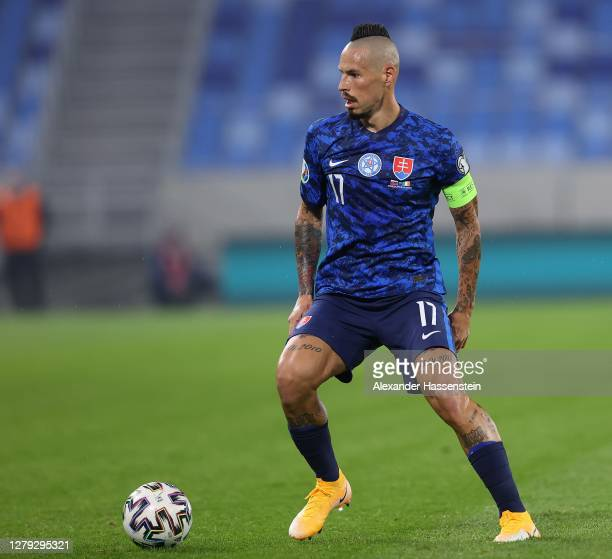 Marek Hamsik of Slovakia runs with the ball during the UEFA EURO 2020 PlayOff SemiFinal match between Slovakia and Republic of Ireland at Tehelne...