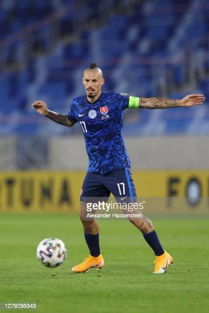 Marek Hamsik of Slovakia runs with the ball during the UEFA EURO 2020 Play-Off Semi-Final match between Slovakia and Republic of Ireland at Tehelne...