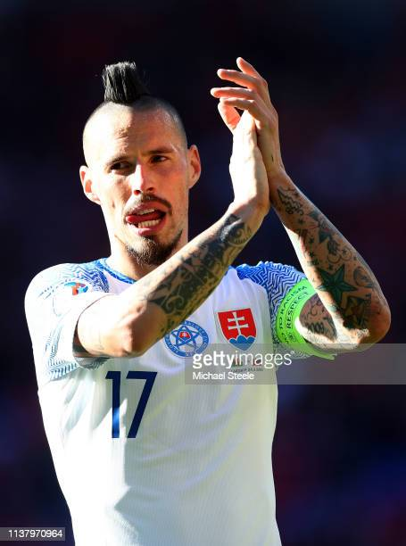Marek Hamsik of Slovakia shows appreciation to the fans after the 2020 UEFA European Championships group E qualifying match between Wales and...