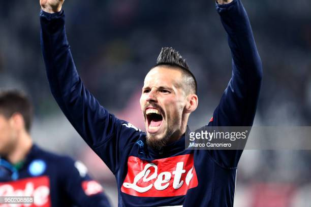 Marek Hamsik of Ssc Napoli celebrate at the end of the Serie A football match between Juventus Fc and Ssc Napoli Ssc Napoli wins 10 over Juventus Fc