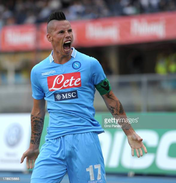 Marek Hamsik of SSC Napoli celebrates after scoring his opening goal during the Serie A match between AC Chievo Verona and SSC Napoli at Stadio...