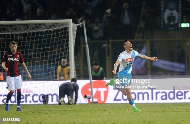 Marek Hamsik of SSC Napoli celebrates after scoring his team's seventh goal during the Serie A match between Bologna FC and SSC Napoli at Stadio...