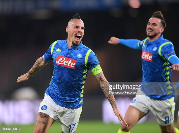 Marek Hamsik of SSC Napoli celebrates after scoring the 10 goal during the Group C match of the UEFA Champions League between SSC Napoli and Red Star...