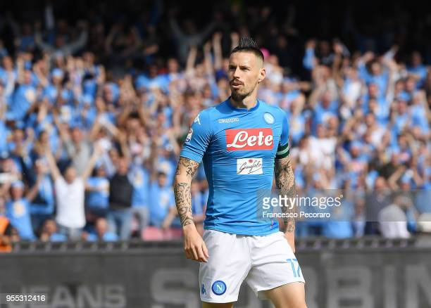 Marek Hamsik of SSC Napoli celebrates after scoring the 21 goal during the serie A match between SSC Napoli and Torino FC at Stadio San Paolo on May...