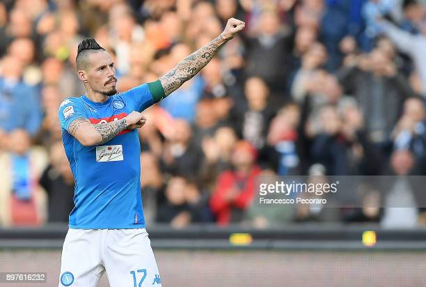 Marek Hamsik of SSC Napoli celebrates after scoring the 32 goal during the Serie A match between SSC Napoli and UC Sampdoria at Stadio San Paolo on...