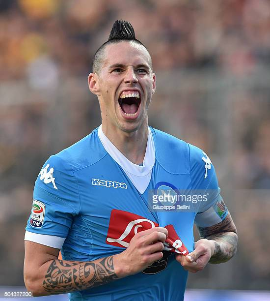 Marek Hamsik of SSC Napoli celebrates after scoring the goal 03 during the Serie A match between Frosinone Calcio and SSC Napoli at Stadio Matusa on...