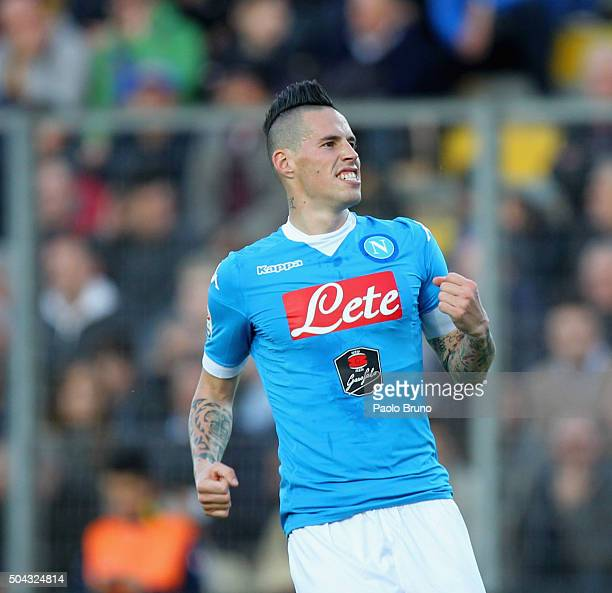 Marek Hamsik of SSC Napoli celebrates after scoring the team's third goal during the Serie A match between Frosinone Calcio and SSC Napoli at Stadio...