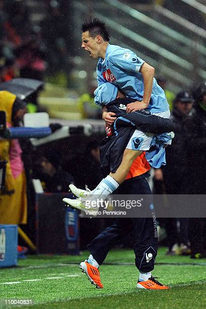 Marek Hamsik of SSC Napoli celebrates scoring his ream's equalizing goal during the Serie A match between Parma FC and SSC Napoli at Stadio Ennio...