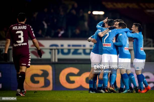 Marek Hamsik of SSC Napoli celebrates with his teammates after scoring a goal during the Serie A football match between Torino FC and SSC Napoli SSC...