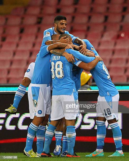 Marek Hamsik of SSC Napoli celebrates with his teammates after scoring during the Serie A match between SSC Napoli and AC Chievo Verona at Stadio San...