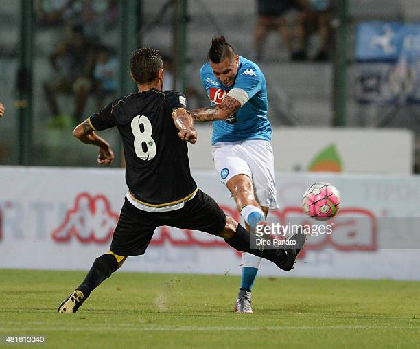 Marek Hamsik of SSC Napoli competes during the preseason frienldy match between SSC Napoli and Feralpi Salo at Stadio Briamasco on July 24 2015 in...