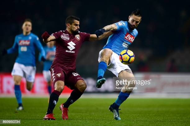 Marek Hamsik of SSC Napoli competes for the ball with Tomas Rincon of Torino FC during the Serie A football match between Torino FC and SSC Napoli...