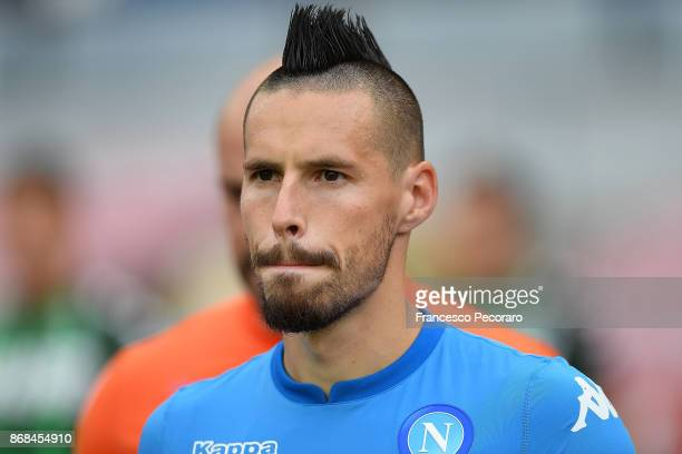 Marek Hamsik of SSC Napoli during the Serie A match between SSC Napoli and US Sassuolo at Stadio San Paolo on October 29 2017 in Naples Italy